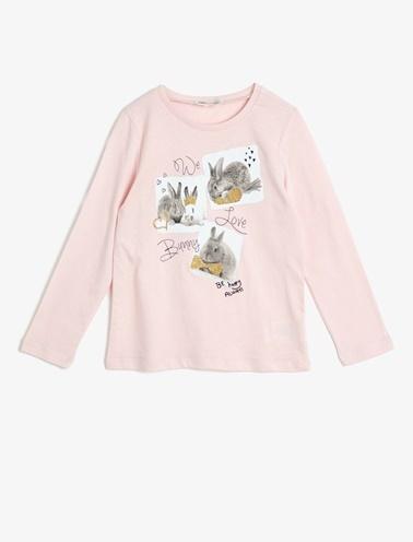 Koton Kids Yazili Baskili T-Shirt Pembe